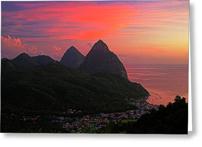 Pitons At Sunset- St Lucia Greeting Card
