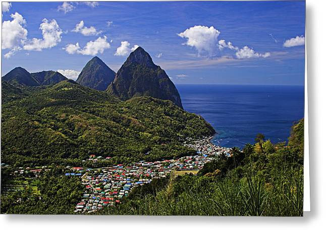 Pitons St Lucia Greeting Card by Chester Williams