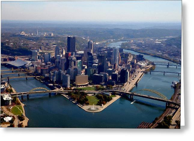 Pittsburgh Aerial Digital Painting Greeting Card by Mattucci Photography