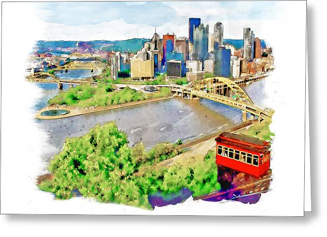 Pittsburgh Aerial View Greeting Card by Marian Voicu