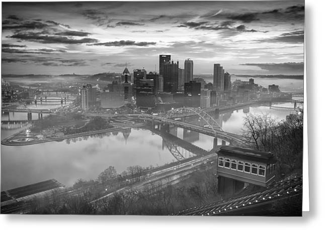Pittsburgh Architecture 10 Bw Greeting Card by Emmanuel Panagiotakis