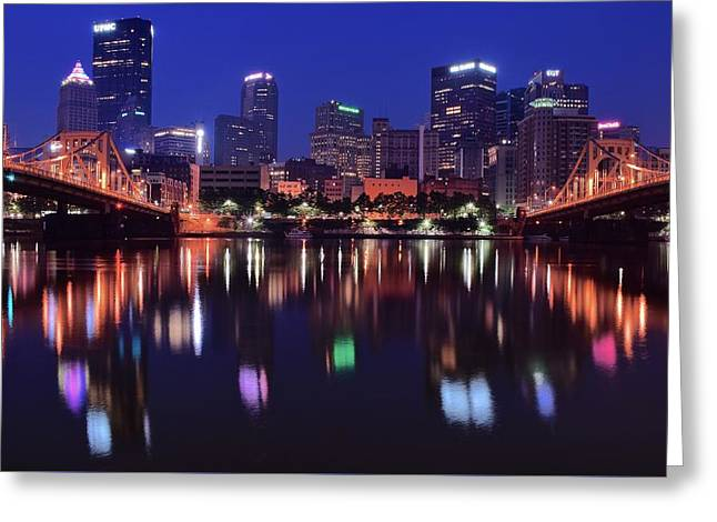 Pittsburgh Blue Hour Greeting Card by Frozen in Time Fine Art Photography