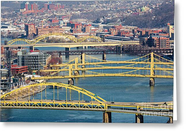 Pittsburgh Bridges Along The Allegheny River Greeting Card by Amy Cicconi
