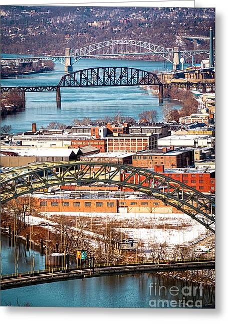 Pittsburgh Bridges Along The Ohio River Greeting Card by Amy Cicconi
