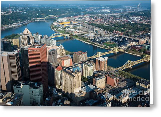 Pittsburgh Bridges And City Aerial View Greeting Card