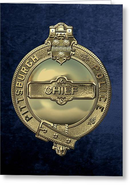 Pittsburgh Bureau Of Police -  P B P  Chief Badge Over Blue Velvet Greeting Card by Serge Averbukh