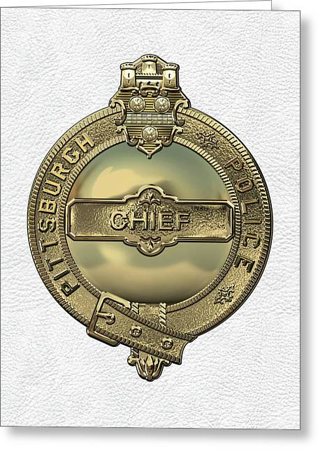 Pittsburgh Bureau Of Police -  P B P  Chief Badge Over White Leather  Greeting Card by Serge Averbukh