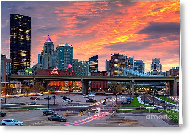 Pittsburgh From The Strip Greeting Card by Emmanuel Panagiotakis