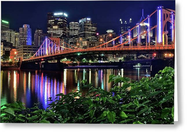 Pittsburgh Lights Bridge And Foliage Greeting Card