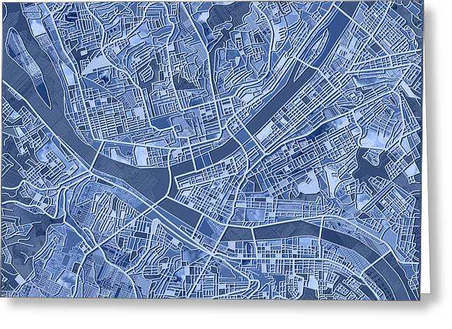 Pittsburgh Map Blue Greeting Card