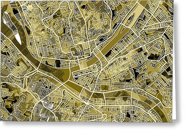 Pittsburgh Map Old Greeting Card