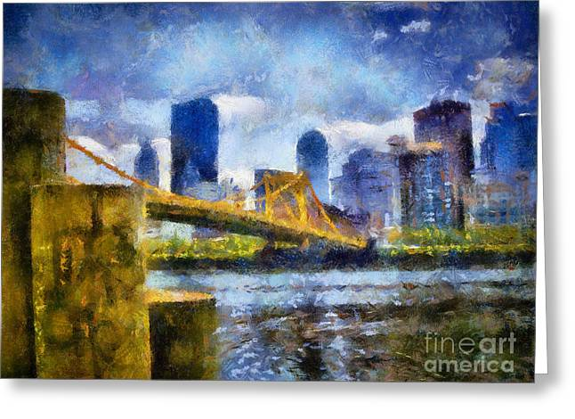 Pittsburgh North Shore Skyline Greeting Card by Amy Cicconi
