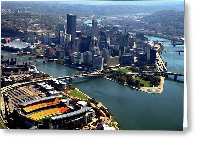 Pittsburgh, Pa - Heinz Field Digital Painting Aerial Greeting Card by Mattucci Photography