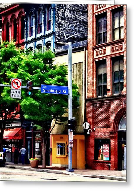 Pittsburgh Pa - Liberty Ave And Smithfield Street Greeting Card by Susan Savad