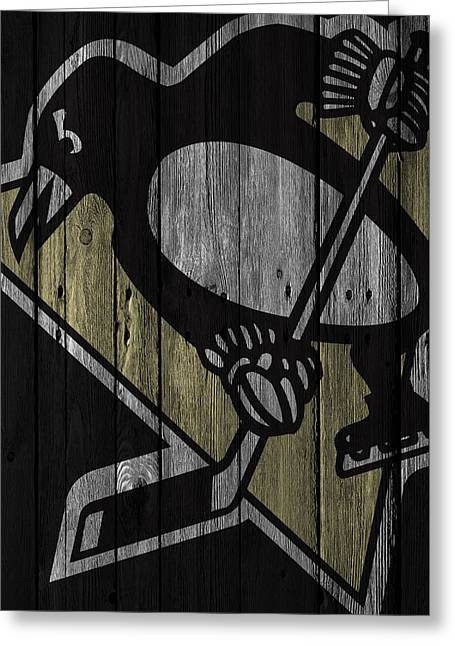 Pittsburgh Penguins Wood Fence Greeting Card by Joe Hamilton