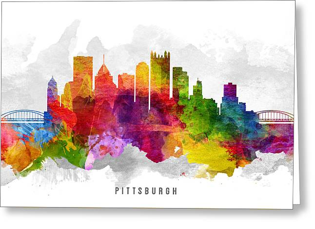 Pittsburgh Pennsylvania Cityscape 13 Greeting Card by Aged Pixel