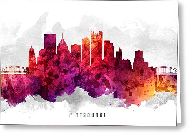 Pittsburgh Pennsylvania Cityscape 14 Greeting Card by Aged Pixel
