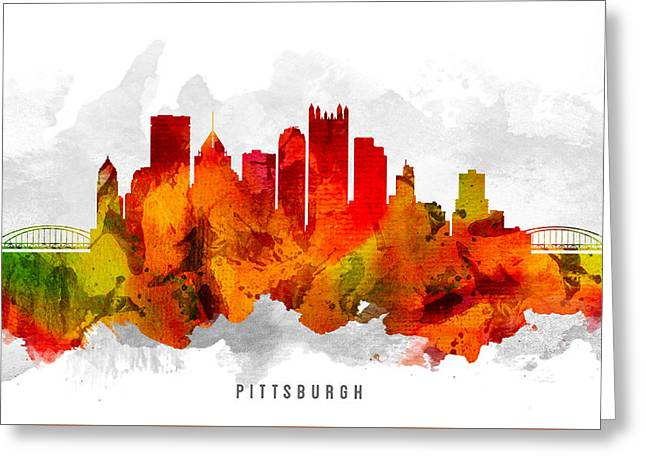 Pittsburgh Pennsylvania Cityscape 15 Greeting Card by Aged Pixel