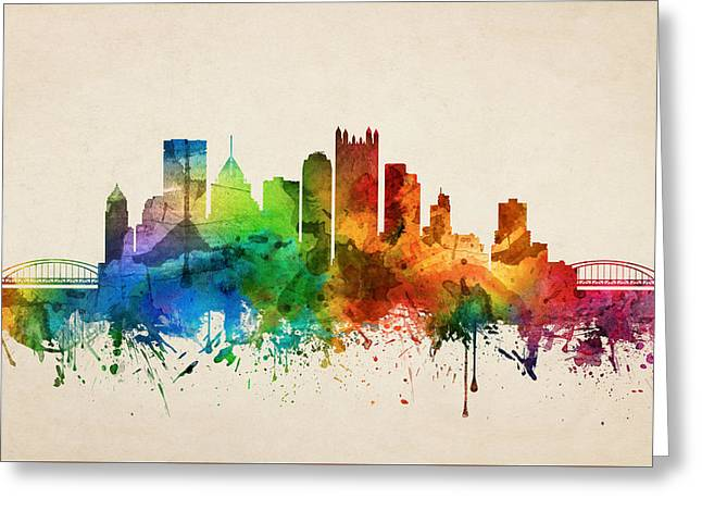 Pittsburgh Pennsylvania Skyline 05 Greeting Card by Aged Pixel