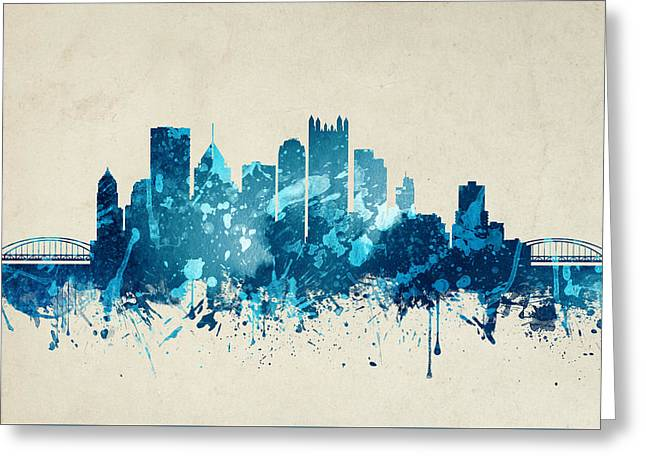 Pittsburgh Pennsylvania Skyline 20 Greeting Card by Aged Pixel