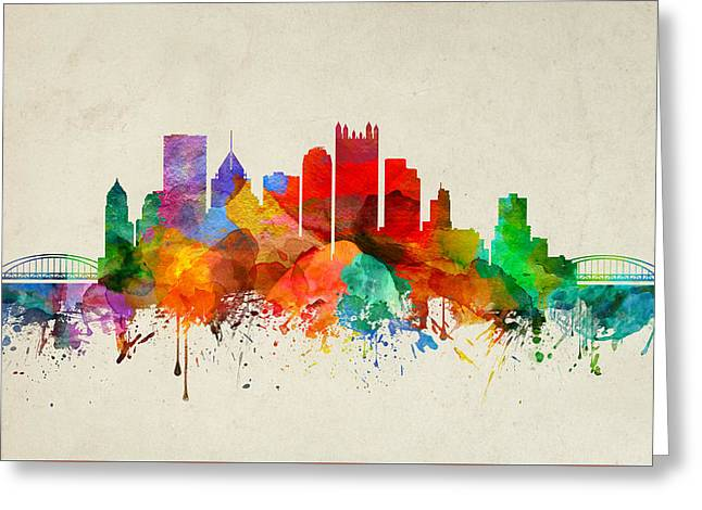 Pittsburgh Pennsylvania Skyline 22 Greeting Card by Aged Pixel