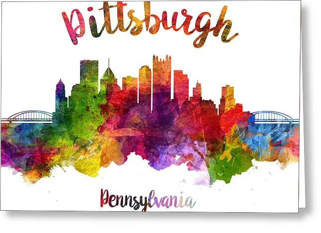 Pittsburgh Pennsylvania Skyline 23 Greeting Card by Aged Pixel