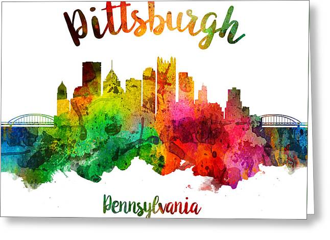 Pittsburgh Pennsylvania Skyline 24 Greeting Card by Aged Pixel