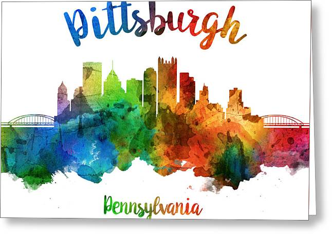 Pittsburgh Pennsylvania Skyline 25 Greeting Card by Aged Pixel