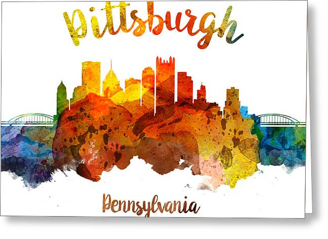 Pittsburgh Pennsylvania Skyline 26 Greeting Card by Aged Pixel