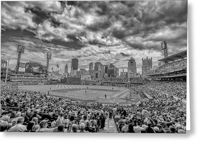 Pittsburgh Pirates Pnc Park Black And White 2 Greeting Card by David Haskett