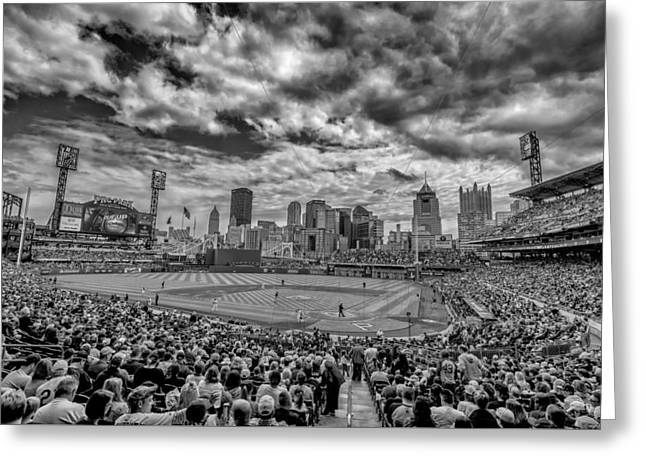 Pittsburgh Pirates Pnc Park Black And White Greeting Card by David Haskett