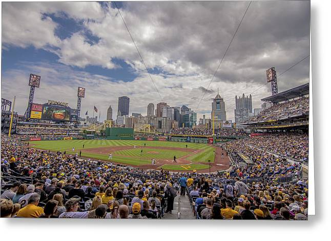 Pittsburgh Pirates Pnc Park X3 Greeting Card by David Haskett