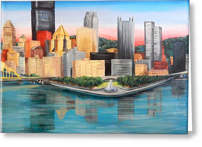 Pittsburgh Point And Three Rivers Greeting Card by Julia Cahill