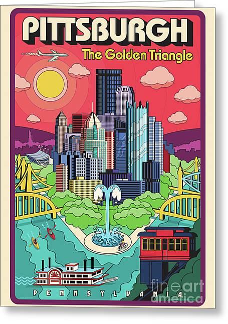 Pittsburgh Pop Art Travel Poster Greeting Card by Jim Zahniser