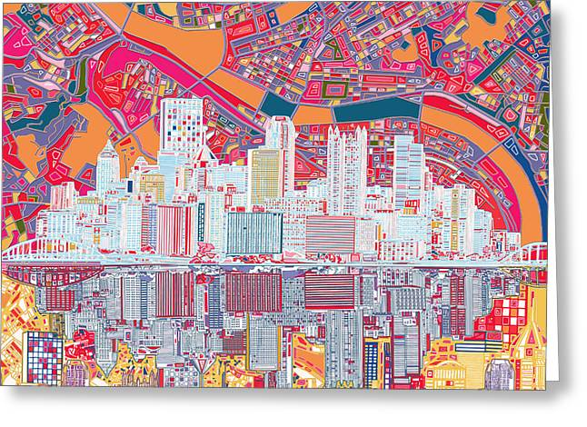 Pittsburgh Skyline Abstract 2 Greeting Card