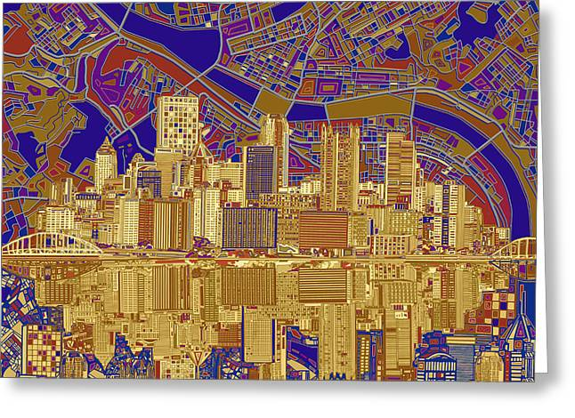 Pittsburgh Skyline Abstract 3 Greeting Card