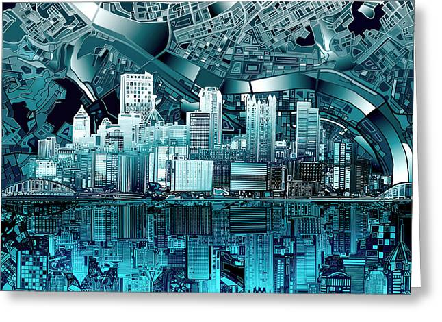 Pittsburgh Skyline Abstract Blue Greeting Card by Bekim Art