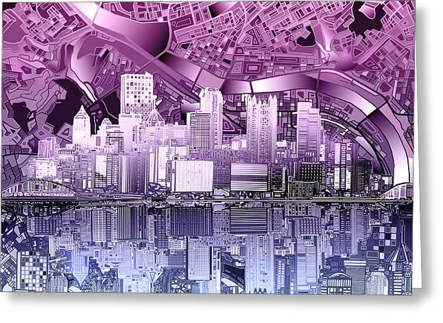Pittsburgh Skyline Abstract Purple Greeting Card by Bekim Art