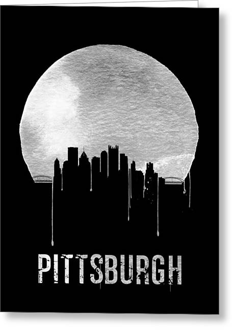 Pittsburgh Skyline Black Greeting Card by Naxart Studio