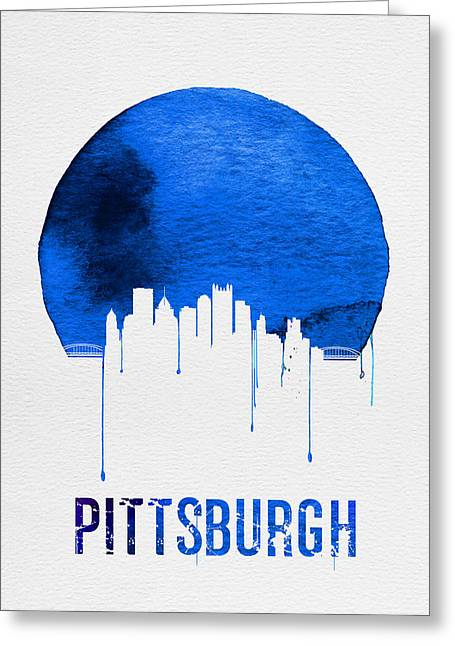 Pittsburgh Skyline Blue Greeting Card by Naxart Studio