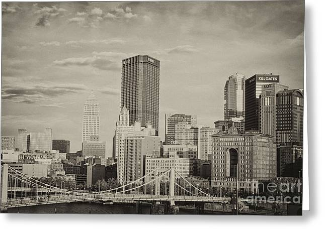 Pittsburgh Skyline Bw Greeting Card by Pittsburgh Photo Company