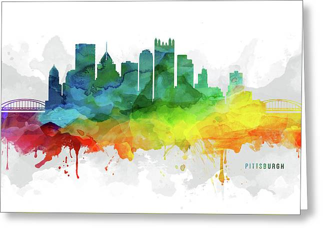 Pittsburgh Skyline Mmr-uspapi05 Greeting Card by Aged Pixel