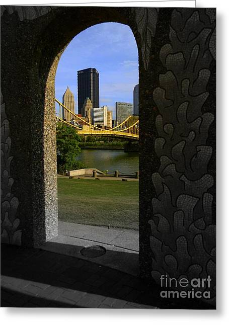 Pittsburgh Skyline, North Shore Arch, Pittsburgh, Pa  Greeting Card by Len-Stanley Yesh