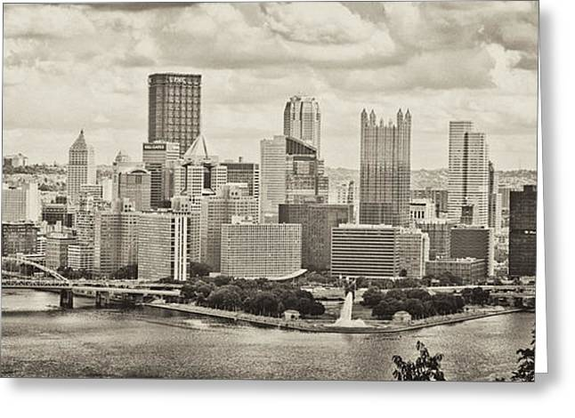 Pittsburgh Skyline Pano Bw Greeting Card by Pittsburgh Photo Company