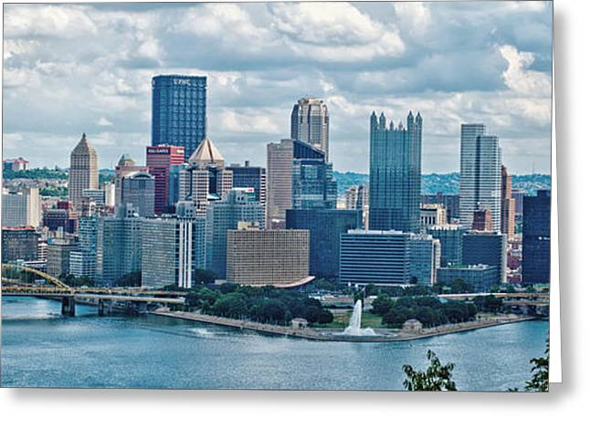 Pittsburgh Skyline Pano Greeting Card by Pittsburgh Photo Company