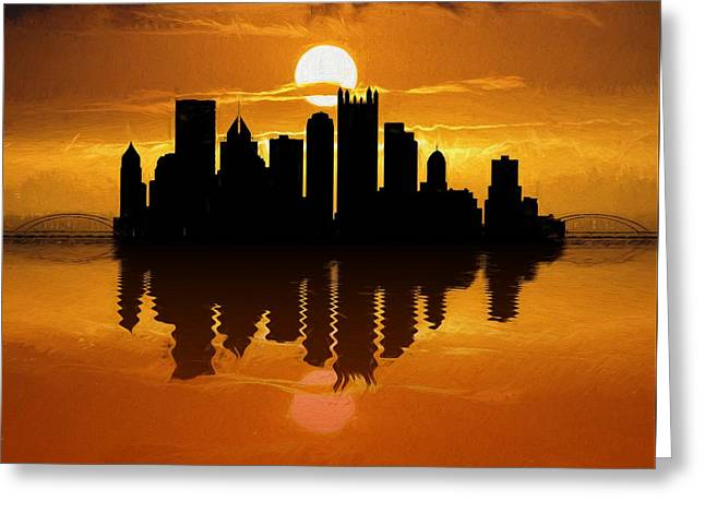Pittsburgh Skyline Sunset Reflection Greeting Card by Dan Sproul