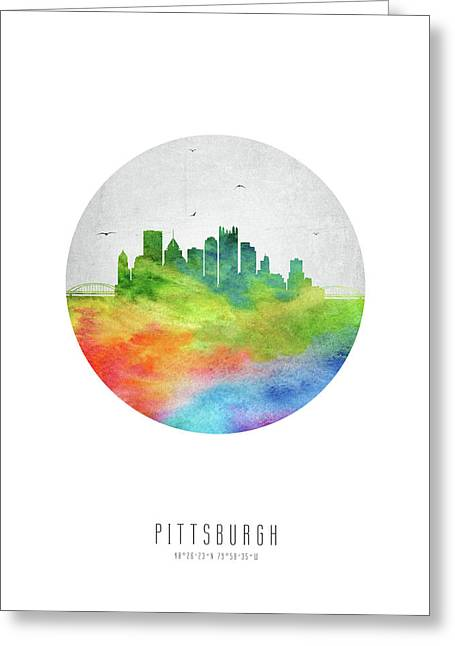 Pittsburgh Skyline Uspapi20 Greeting Card by Aged Pixel
