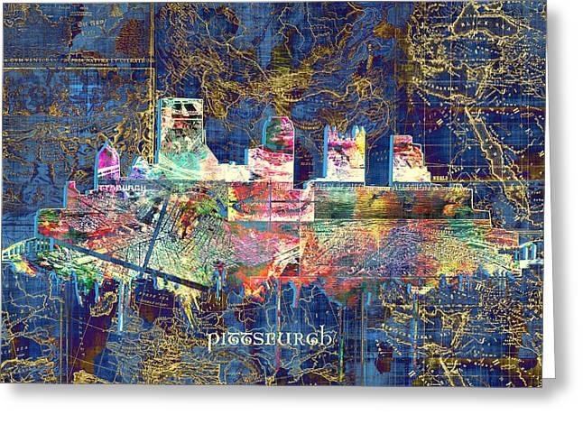 Pittsburgh Skyline Vintage Greeting Card