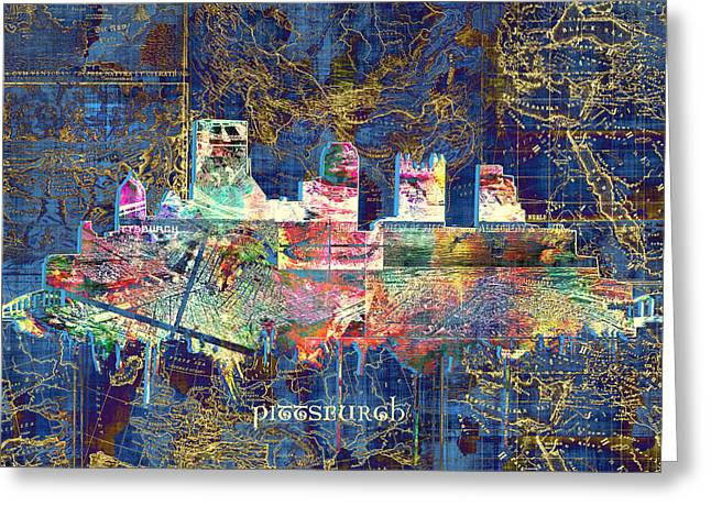 Cathedral Of Learning Greeting Cards - Pittsburgh skyline vintage Greeting Card by MB Art factory