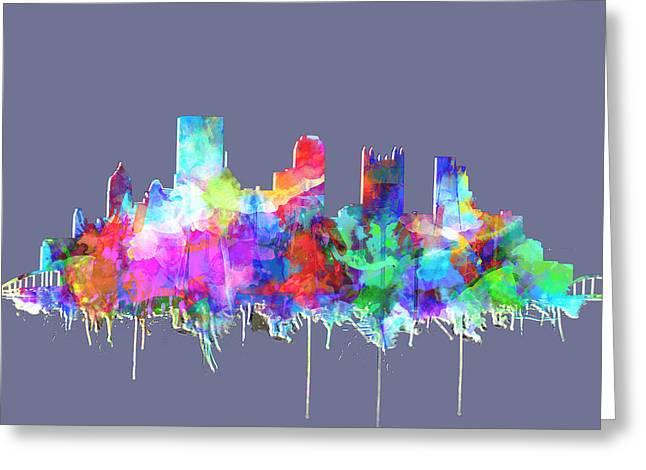 Pittsburgh Skyline Watercolor 3 Greeting Card